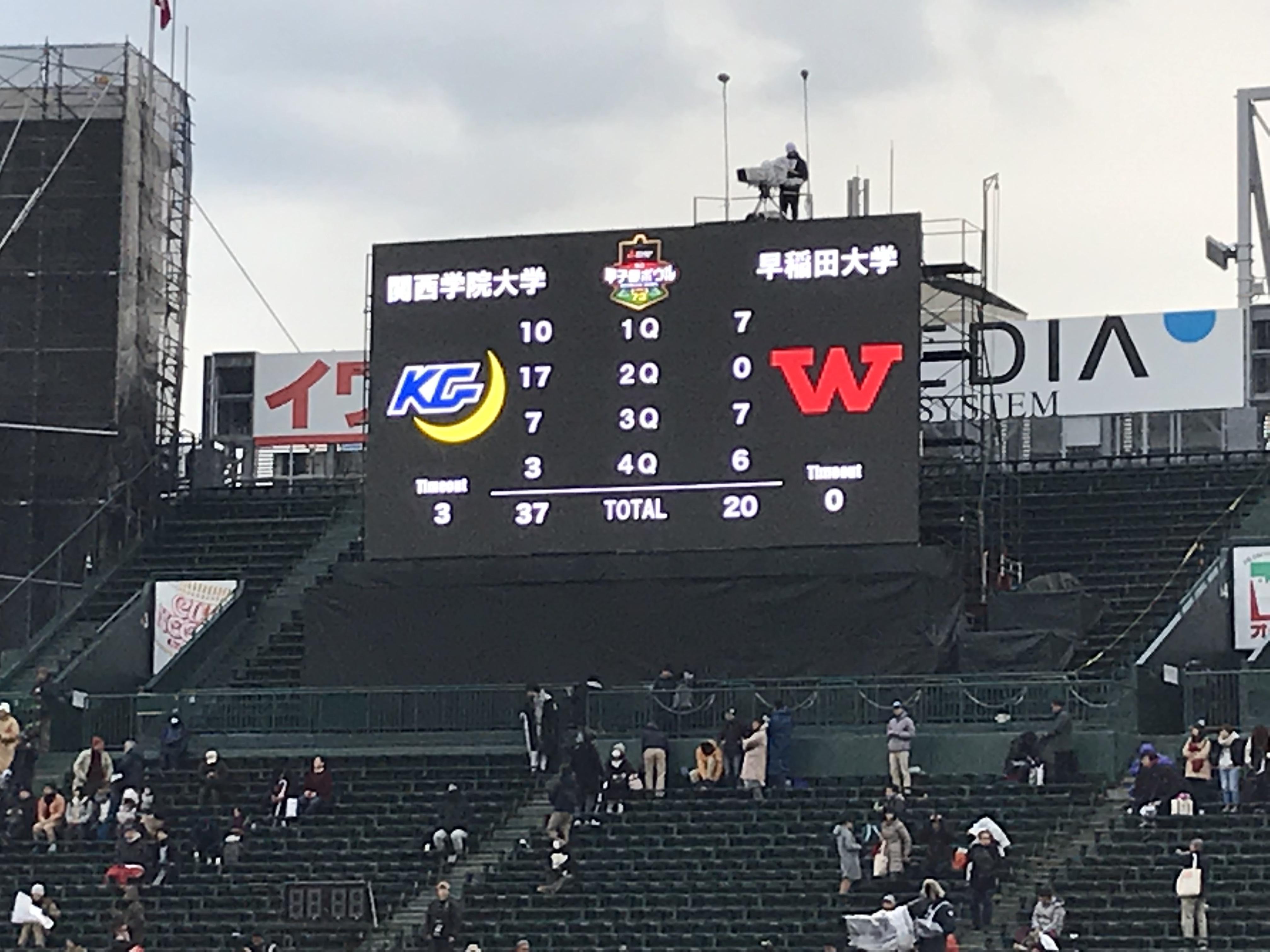 第73回甲子園ボウルは、関学大が37―20で早大を下した=阪神甲子園球場