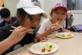 調理したセミを味わう参加者=磐田市大中瀬の市竜洋昆虫自然観察公園