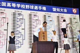 愛知大会の組み合わせ抽選をする参加校の代表者ら=刈谷市総合文化センターで