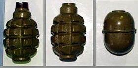 熊本市北区の倉庫で見つかった手りゅう弾3個(熊本県警提供)