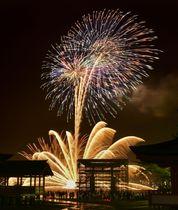 世界遺産・厳島神社がある広島県廿日市市の宮島で開かれた「宮島水中花火大会」。下中央は補修工事中の大鳥居=24日夜