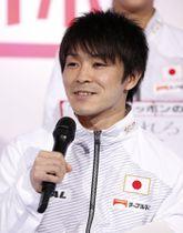 イベントに出席し抱負を語る体操男子の内村航平=14日、東京都内