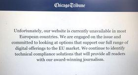米紙シカゴ・トリビューンが欧州で閲覧できなくなったことを説明するサイトの画面=25日(共同)