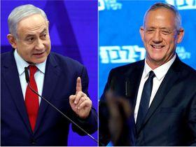 イスラエルのネタニヤフ首相(左)とガンツ元軍参謀総長(ロイター=共同)