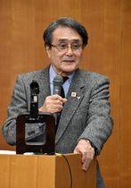 縄文遺跡群の価値や世界遺産登録後の課題について講演する菊池氏