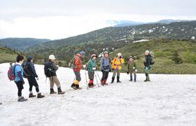 残雪を踏みしめ、裏岩手連峰の風景を楽しむ参加者