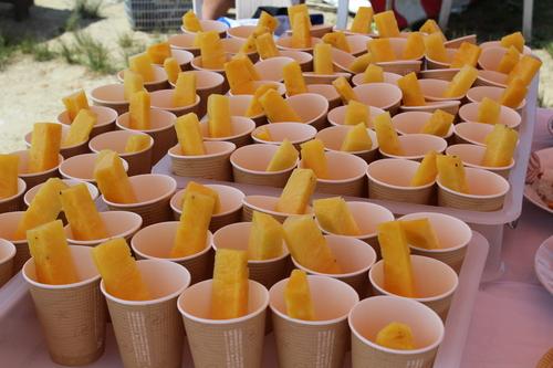 冷凍パイナップルで栄養補給=写真提供・大柴由紀さん