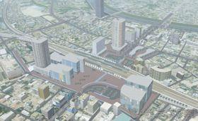 春日部駅付近連続立体交差事業のイメージ図の一部(市提供)