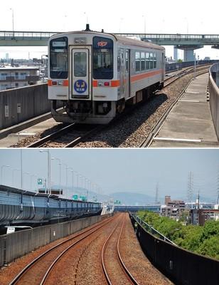(上)勝川駅を出発した1両編成の気動車、(下)非電化で架線柱がないので先頭窓からの見通しは抜群だ