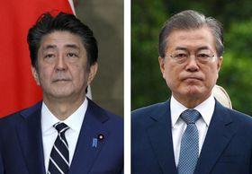 安倍晋三首相、韓国の文在寅大統領(ロイター=共同)