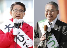愛知県知事選が告示され、有権者に支持を訴える榑松佐一氏(右)と大村秀章氏=17日午前、名古屋市
