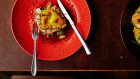 赤い皿に乗った、カジキマグロのソテー。美味しい料理を食べてやせられるとしたら、うれしい(C)Zoveer.nl
