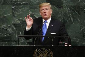 2017年9月、国連総会で演説するトランプ米大統領(AP=共同)