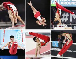 男子個人総合決勝 白井健三の(左上から時計回りに)跳馬、床運動、あん馬、鉄棒、平行棒、つり輪=モントリオール(共同)