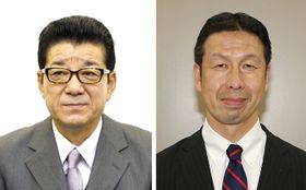 松井一郎大阪府知事(左)、米山隆一新潟県知事