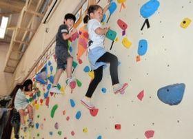 体育館に設置されたボルダリングウォールに挑む児童たち=神戸市灘区六甲山町、六甲山小学校