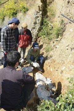 現地研修で石積みの作り方を学ぶ参加者ら=27日午前、宇和島市吉田町深浦