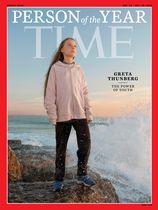 「今年の人」に選ばれたグレタ・トゥンベリさんを載せた米誌タイムの表紙(同誌提供・ロイター=共同)