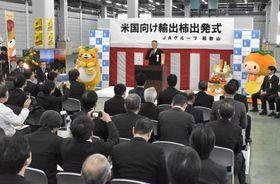 JA紀北かわかみの選果場で行われた国産生柿の出発式=18日午後、和歌山県九度山町