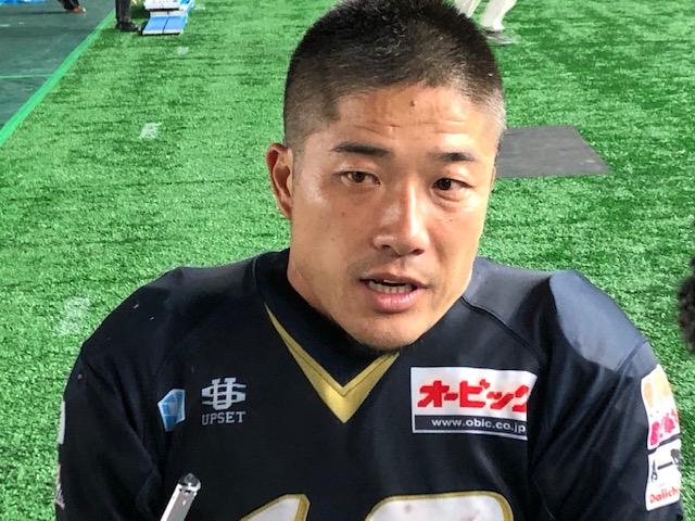 試合後、記者の質問に答える木下典明選手=東京ドーム