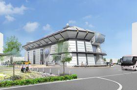 南国市が整備する「ものづくりサポートセンター」のイラスト。宇宙船のような近未来風の外観が特徴だ