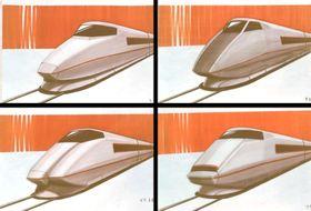 新幹線100系の構想段階で検討された、車体の側面に入る帯がオレンジ色のデザイン案(JR東海提供)