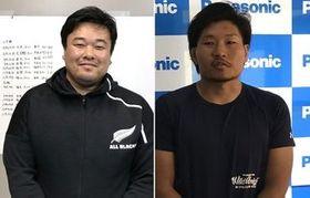 稲垣(右)を指導した松本監督