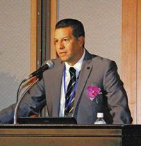 静岡サッカーとの関わりなどの講演をした、ベニート・アルチュンディアさん=静岡市駿河区で