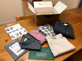 スティッチフィックスによる男性用衣類の商品例=2017年12月、ニューヨーク(共同)