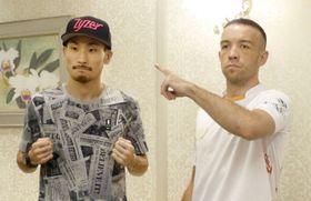 予備検診を終え、ポーズを取るIBFスーパーバンタム級王者の岩佐亮佑(左)と挑戦者のTJ・ドヘニー=14日、東京都内