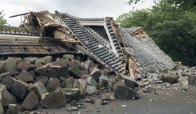 倒壊した熊本城の元太鼓櫓=20日、熊本市(同市提供)