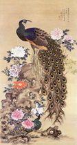 館蔵展で展示される野出蕉雨の「孔雀牡丹図」