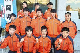 開会式に出席し笑顔を見せた静岡の選手たち=広島市の広島国際会議場で