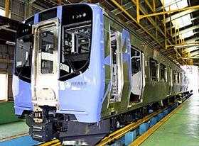 梁川車両基地に搬入されたAB900系
