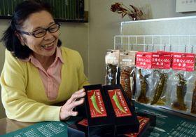 かわいらしいパッケージデザインに自信を見せる池上悦子会長。商品への問い合わせも日増しに多くなっている
