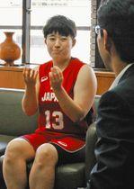 「4強入りと得点ランキング上位が目標」と話す橋本さん=柏市役所で