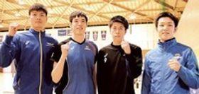 東京五輪代表入りを目指す東レの(右から)藤井、富田、李、高橋=三島市の東レ体育館