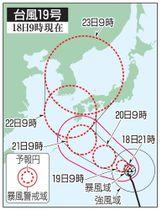 台風19号の5日先予想進路(18日9時現在)