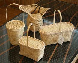 新たに開発したバンブーバッグ4種類。ファッションとの共存をコンセプトに据えて竹細工の新しい可能性を追求した