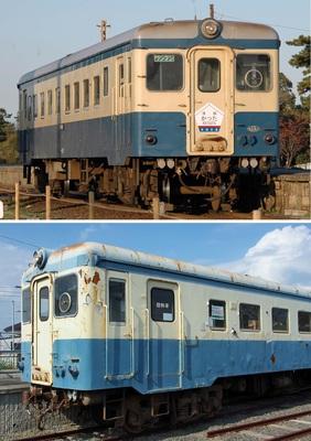 (上)第三セクター化される前、茨城交通時代の2007年に撮影したキハ222。夕日を浴びて美しい姿、(下)今のキハ222。窓に「おつかれさま ありがとう」の紙が貼られているが、ホームからは近づけず、展示しているわけではないようだ