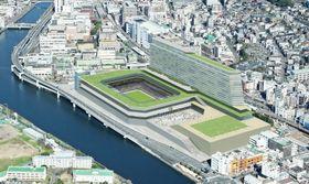 サッカー専用スタジアムを中心とした「長崎スタジアムシティ」のイメージ(ジャパネットホールディングス提供)