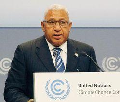 気候変動枠組み条約会議の全体会合で演説するフィジーのバイニマラマ首相=18日、ドイツ・ボン(共同)
