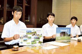 わら中朝市をPRし、地域活性化への思いを語る生徒=静岡市役所静岡庁舎