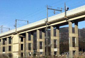 防風柵が設けられたJR湖西線の高架(滋賀県長浜市西浅井町)=JR西提供