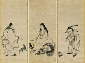 室町時代の水墨画家・雪舟が若い頃に描いた人物水墨画「騎獅文殊・黄初平・張果老図」が確認された。中央の掛け軸には獅子に座った文殊菩薩、左は張果老、右は黄初平という仙人が描かれている(いずれも個人蔵)