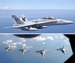米海兵隊のFA18戦闘攻撃機(ゲッティ=共同) 下は空中給油を終えて並んで飛行するFA18戦闘攻撃機