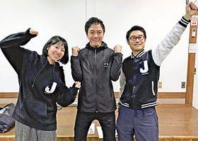 イベント参加を呼び掛ける佐々木さん(左)と日本ジョセササイズ協会の鈴木会長(中央)
