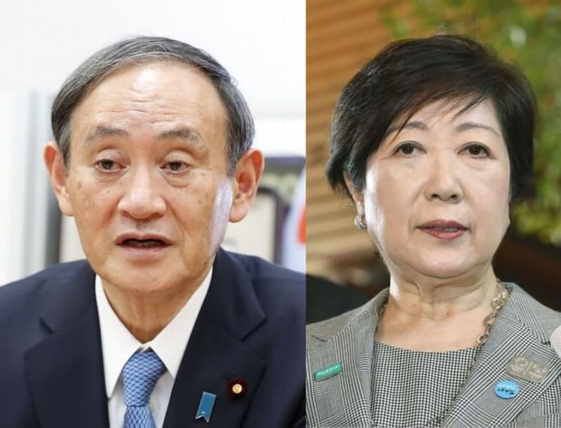 菅義偉官房長官(左)、東京都の小池百合子知事