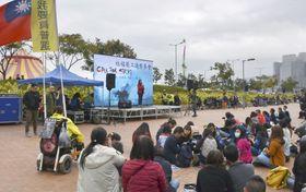 香港中心部で開催された社会福祉業界の集会=15日(共同)