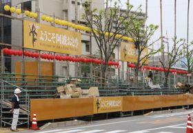 徳島市で開かれる「阿波おどり」の桟敷席=2017年8月